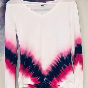 Lightweight sweater with pink & indigo tie-dye